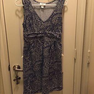 Ann Taylor Loft Dress Navy Blue & White